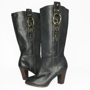 Lucky Brand Equestrian Leather Pull on Boot Black